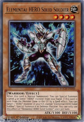 Picture of TOCH-EN040 Elemental HERO Solid Soldier Rare 1st Edition Mint YuGiOh Card