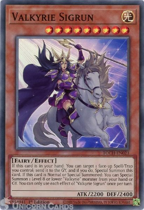 Picture of TOCH-EN023 Valkyrie Sigrun Super Rare 1st Edition Mint YuGiOh Card