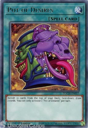 Picture of TOCH-EN057 Pot of Desires Rare 1st Edition Mint YuGiOh Card