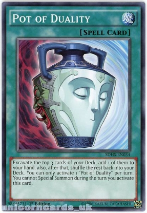 Picture of SDHS-EN034 Pot of Duality 1st Edition Mint YuGiOh Card