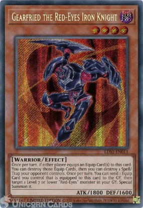 Picture of LDS1-EN011 Gearfried the Red-Eyes Iron Knight Secret Rare Limited Edition Mint YuGiOh Card