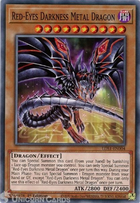 Picture of LDS1-EN004 Red-Eyes Darkness Metal Dragon (alternate art) Common 1st Edition Mint YuGiOh Card
