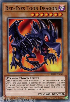 Picture of LDS1-EN066 Red-Eyes Toon Dragon Common 1st Edition Mint YuGiOh Card