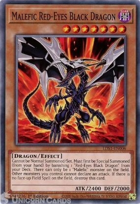 Picture of LDS1-EN006 Malefic Red-Eyes Black Dragon Common 1st Edition Mint YuGiOh Card