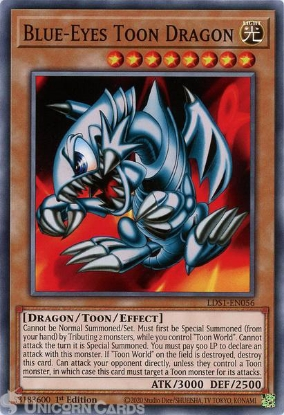 Picture of LDS1-EN056 Blue-Eyes Toon Dragon Common 1st Edition Mint YuGiOh Card