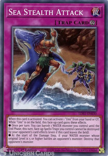 Picture of LDS1-EN030 Sea Stealth Attack Common 1st Edition Mint YuGiOh Card