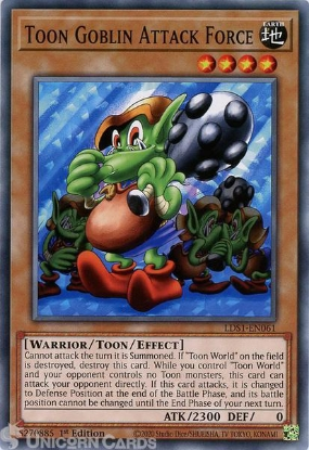 Picture of LDS1-EN061 Toon Goblin Attack Force Common 1st Edition Mint YuGiOh Card