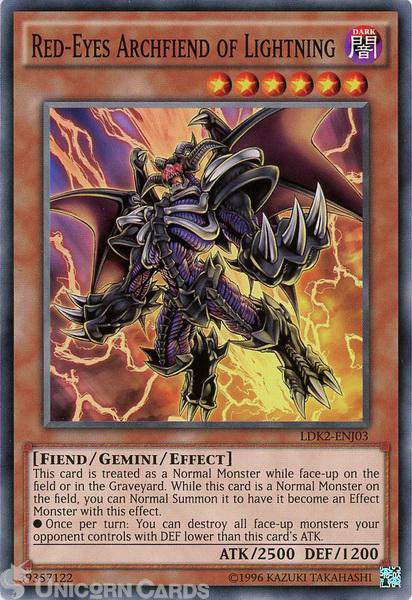 Picture of LDK2-ENJ03 Red-Eyes Archfiend of Lightning UNL edition Mint YuGiOh Card