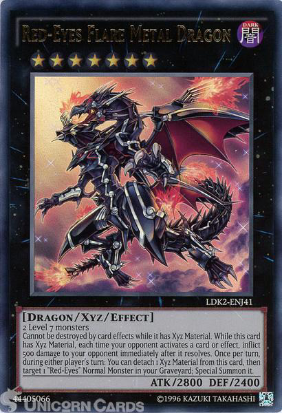 Picture of LDK2-ENJ41 Red-Eyes Flare Metal Dragon Ultra Rare UNL edition Mint YuGiOh Card