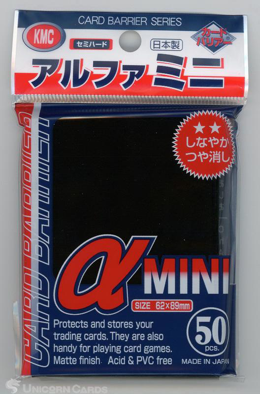 Picture of KMC Small Sleeves - Alpha Mini Black :: High Quality YuGiOh Card Sleeves x50