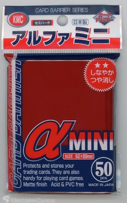 Picture of KMC Small Sleeves - Alpha Mini Red :: High Quality YuGiOh Card Sleeves x50
