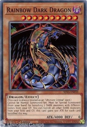Picture of SDSA-EN010 Rainbow Dark Dragon Common 1st Edition Mint YuGiOh Card