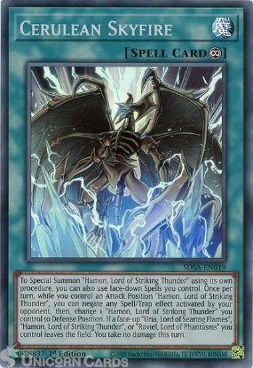 Picture of SDSA-EN019 Cerulean Skyfire Super Rare 1st Edition Mint YuGiOh Card