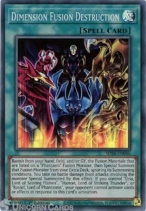 Picture of SDSA-EN046 Dimension Fusion Destruction Super Rare 1st Edition Mint YuGiOh Card