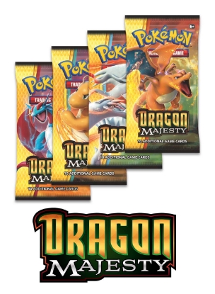 Picture of Pokemon TCG: Dragon Majesty 4 Booster Packs - All 4 Types - Brand New And Sealed!