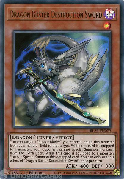 Picture of BLAR-EN079 Dragon Buster Destruction Sword Ultra Rare 1st Edition Mint YuGiOh Card