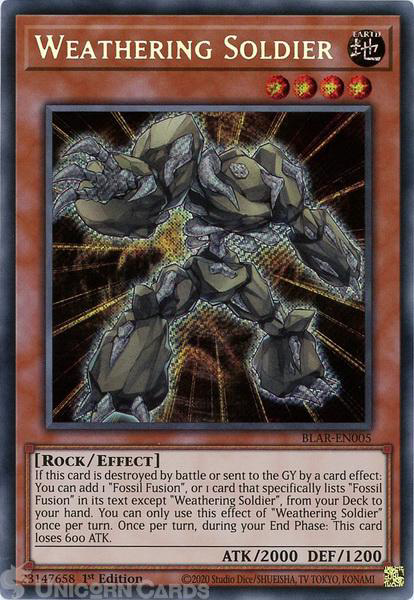 Picture of BLAR-EN005 Weathering Soldier Secret Rare 1st Edition Mint YuGiOh Card