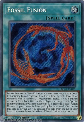 Picture of BLAR-EN011 Fossil Fusion Secret Rare 1st Edition Mint YuGiOh Card