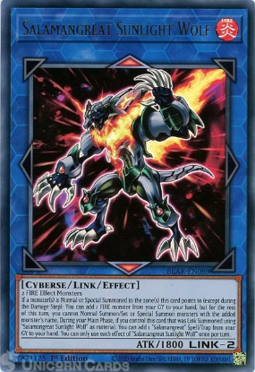 Picture of BLAR-EN089 Salamangreat Sunlight Wolf Ultra Rare 1st Edition Mint YuGiOh Card