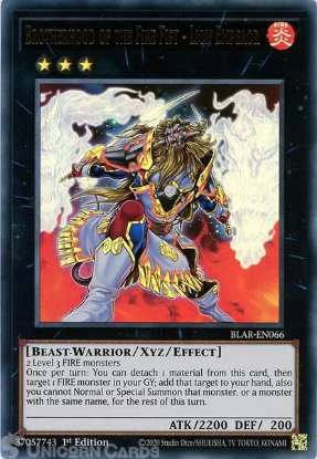 Picture of BLAR-EN066 Brotherhood of the Fire Fist - Lion Emperor Ultra Rare 1st Edition Mint YuGiOh Card