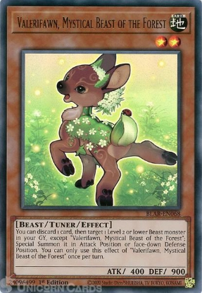 Picture of BLAR-EN068 Valerifawn, Mystical Beast of the Forest Ultra Rare 1st Edition Mint YuGiOh Card