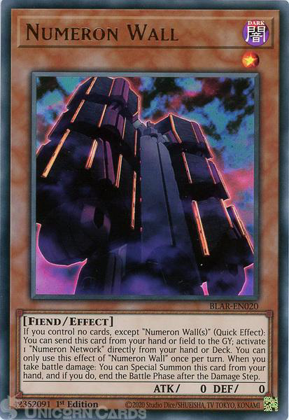 Picture of BLAR-EN020 Numeron Wall Ultra Rare 1st Edition Mint YuGiOh Card