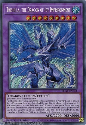 Picture of BLAR-EN048 Trishula, the Dragon of Icy Imprisonment Secret Rare 1st Edition Mint YuGiOh Card