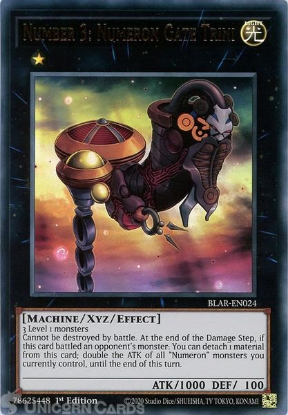 Picture of BLAR-EN024 Number 3: Numeron Gate Trini Ultra Rare 1st Edition Mint YuGiOh Card