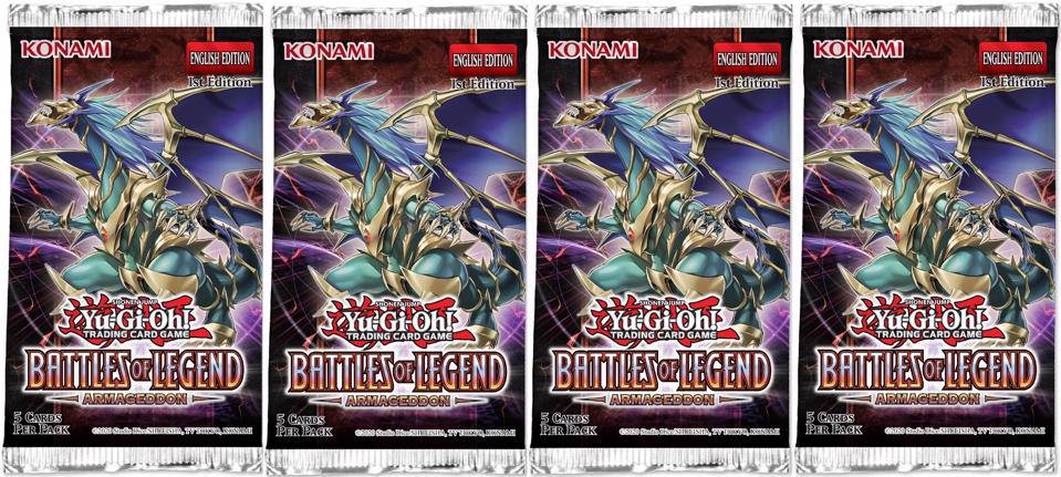 Picture of YuGiOh! Battles of Legend: Armageddon 1st Edition Booster Packs x4 :: New And Sealed ::