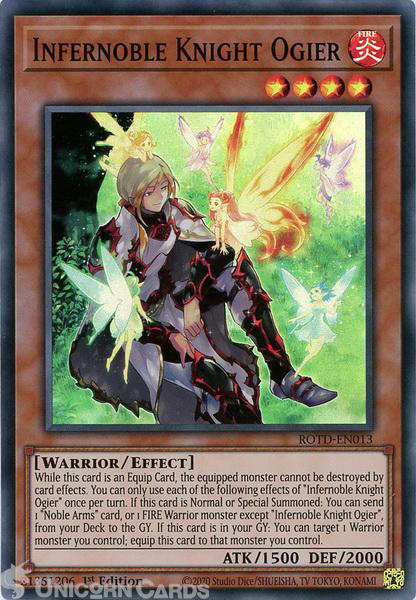 Picture of ROTD-EN013 Infernoble Knight Ogier Super Rare 1st Edition Mint YuGiOh Card