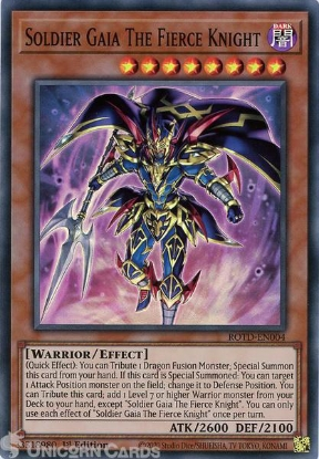 Picture of ROTD-EN004 Soldier Gaia The Fierce Knight Super Rare 1st Edition Mint YuGiOh Card