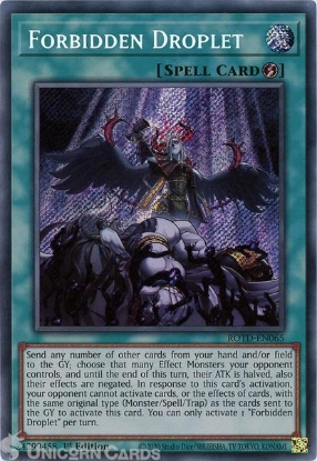 Picture of ROTD-EN065 Forbidden Droplet Secret Rare 1st Edition Mint YuGiOh Card