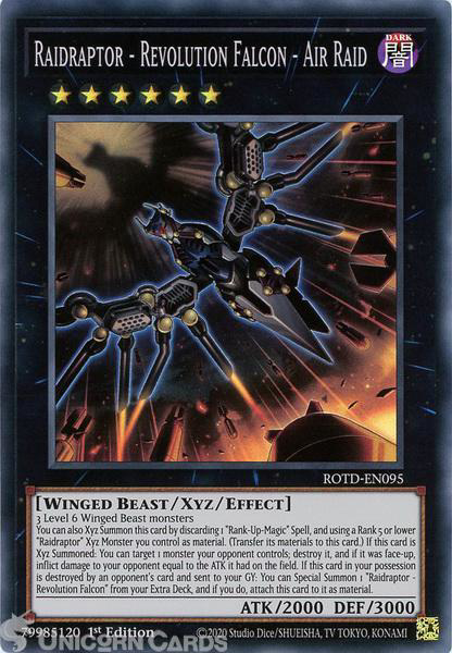Picture of ROTD-EN095 Raidraptor - Revolution Falcon - Air Raid Super Rare 1st Edition Mint YuGiOh Card