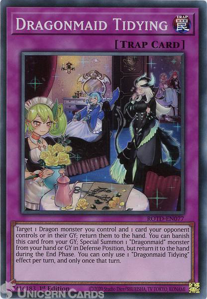 Picture of ROTD-EN077 Dragonmaid Tidying Super Rare 1st Edition Mint YuGiOh Card