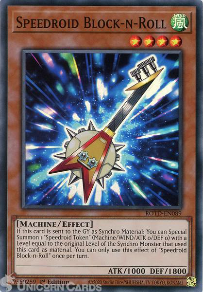 Picture of ROTD-EN089 Speedroid Block-n-Roll Super Rare 1st Edition Mint YuGiOh Card