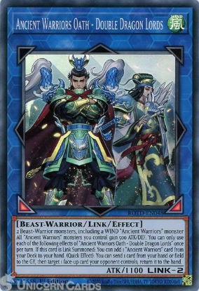 Picture of ROTD-EN048 Ancient Warriors Oath - Double Dragon Lords Super Rare 1st Edition Mint YuGiOh Card