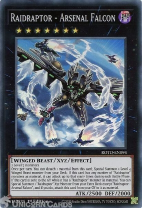 Picture of ROTD-EN094 Raidraptor - Arsenal Falcon Super Rare 1st Edition Mint YuGiOh Card