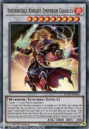 Picture of ROTD-EN042 Infernoble Knight Emperor Charles Ultra Rare 1st Edition Mint YuGiOh Card