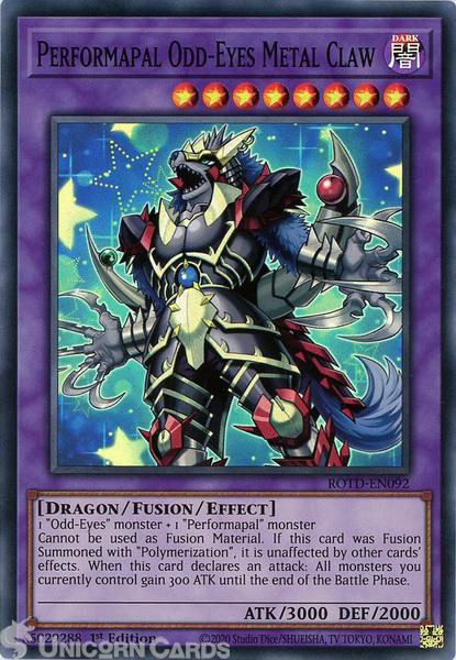 Picture of ROTD-EN092 Performapal Odd-Eyes Metal Claw Super Rare 1st Edition Mint YuGiOh Card