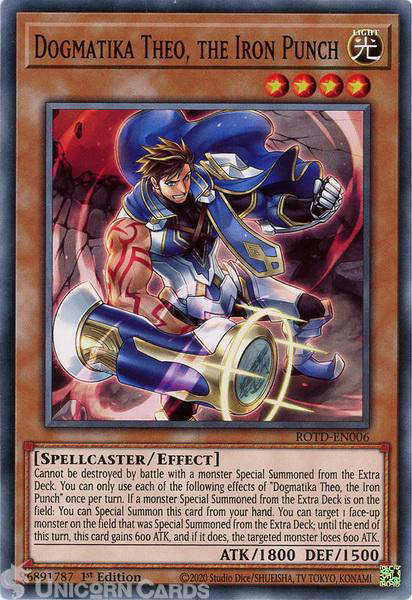 Picture of ROTD-EN006 Dogmatika Theo, the Iron Punch Common 1st Edition Mint YuGiOh Card