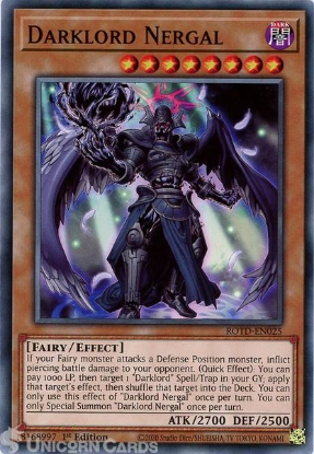 Picture of ROTD-EN025 Darklord Nergal Common 1st Edition Mint YuGiOh Card