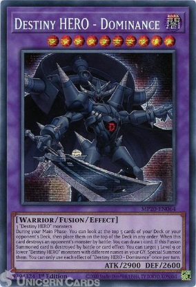 Picture of MP20-EN064 Destiny HERO - Dominance Prismatic Secret Rare 1st Edition Mint YuGiOh Card