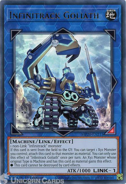 Picture of MP20-EN215 Infinitrack Goliath Ultra Rare 1st Edition Mint YuGiOh Card