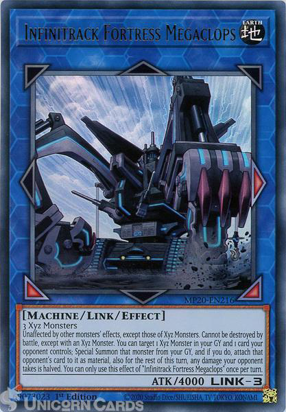 Picture of MP20-EN216 Infinitrack Fortress Megaclops Ultra Rare 1st Edition Mint YuGiOh Card