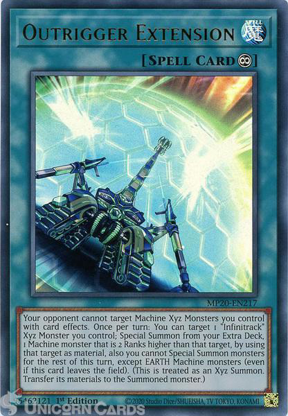 Picture of MP20-EN217 Outrigger Extension Ultra Rare 1st Edition Mint YuGiOh Card