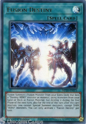 Picture of MP20-EN075 Fusion Destiny Ultra Rare 1st Edition Mint YuGiOh Card