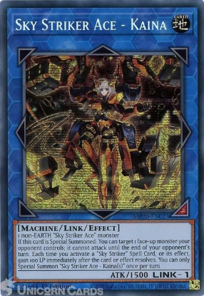 Picture of MP20-EN023 Sky Striker Ace - Kaina Prismatic Secret Rare 1st Edition Mint YuGiOh Card
