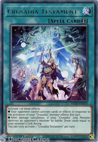Picture of MP20-EN078 Crusadia Testament Rare 1st Edition Mint YuGiOh Card