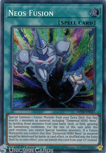 Picture of MP20-EN027 Neos Fusion Prismatic Secret Rare 1st Edition Mint YuGiOh Card