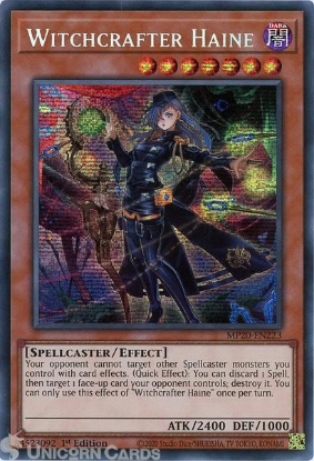 Picture of MP20-EN223 Witchcrafter Haine Prismatic Secret Rare 1st Edition Mint YuGiOh Card